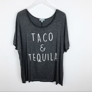 Tops - Tacos and Tequila Grey Graphic Tee Shirt 3X